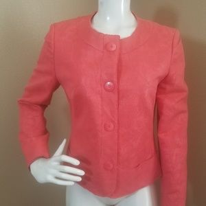 Talbots Coral Raw Edge Floral Blazer Jacket Size 8